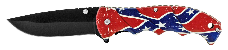 4.75 in Woodsman Finger Grip Pocket Knife - Confederate Flag