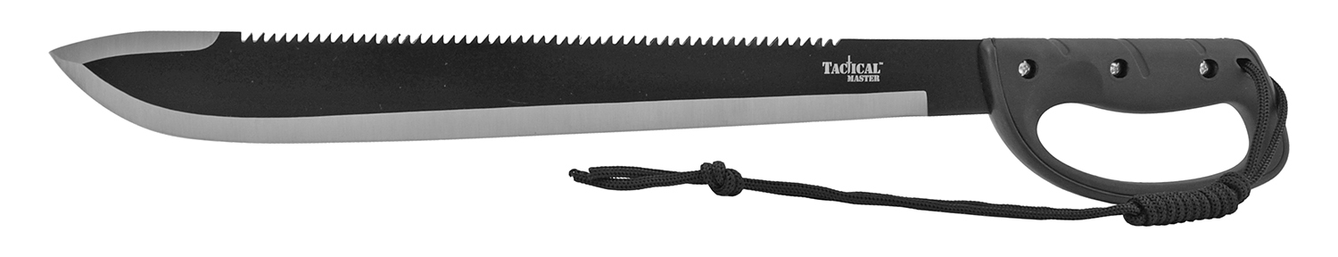 24.5 in  Tactical Master Bush Full Tang Machete with Sawing Back Blade - Black