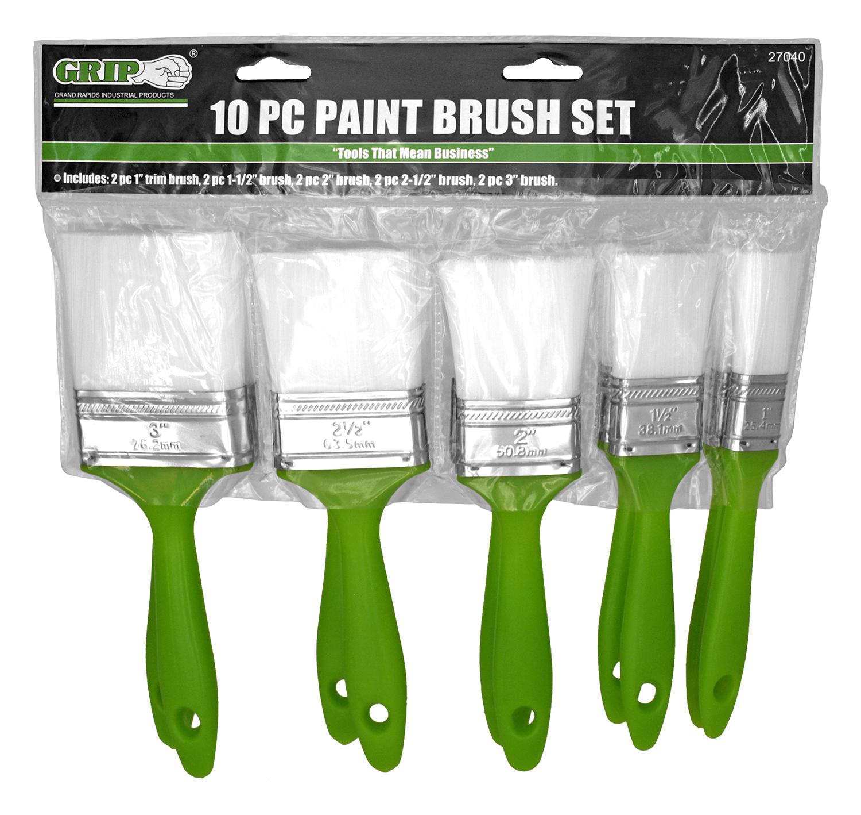 10 - pc. Paint Brush Set - Grip