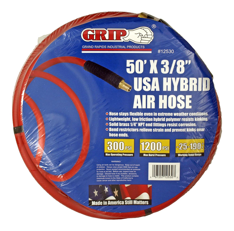50' x 3/8 in Rubber Pneumatic Air Hose - Grip