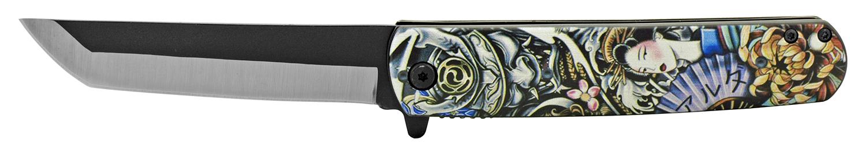 4.75 in Mini Katana Samurai Folding Pocket Knife - Samurai Giesha Girl