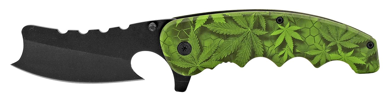 5 in Straight Razor Folding Pocket Knife - Marijuana