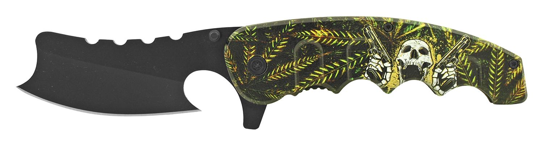 5 in Straight Razor Folding Pocket Knife - Leaf Cheefin Chief