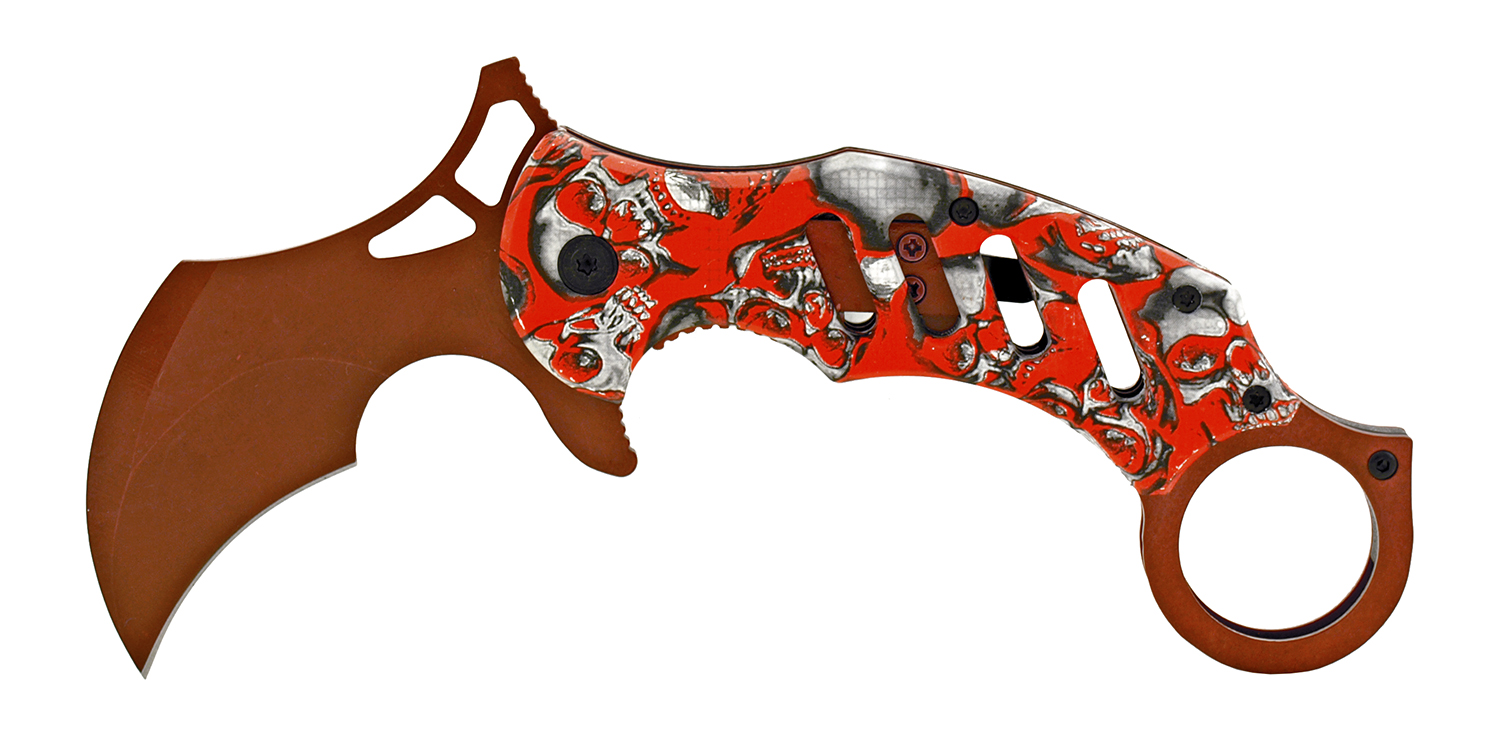 5 in Karambit Special Forces Fighting Pocket Folding Knife - Red Skull Camo