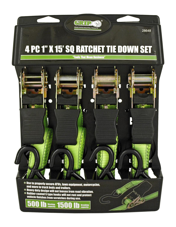 4 - pc. 1 in x 15' SQ Ratchet Tie Down Set - Grip