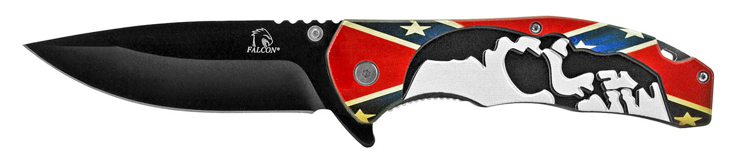 5 in Spring Assisted Skull Knife - Confederate Flag
