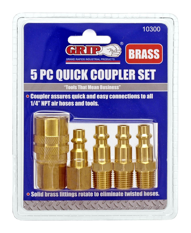 5 - pc. Brass Quick Coupler Set - Grip