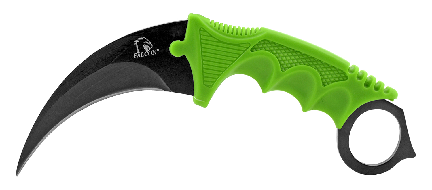 7.5 in Karambit Fighting Claw Knife with Carrying Case - Zombie Green