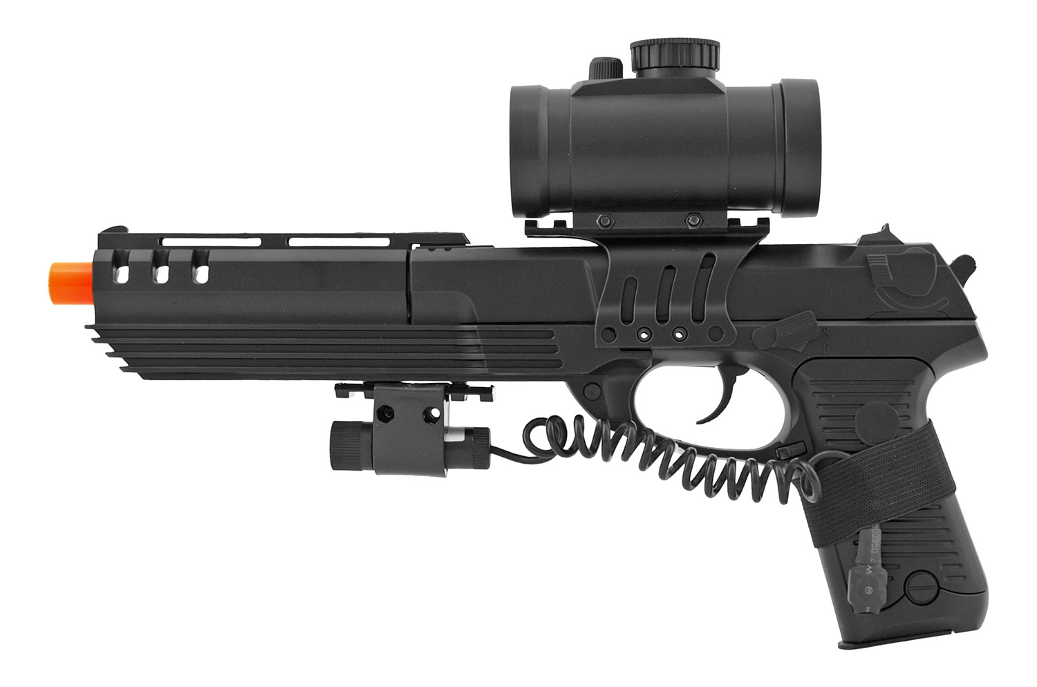Double Eagle M39 Spring Powered Airsoft BB Pistol with Red Dot Scope and Laser
