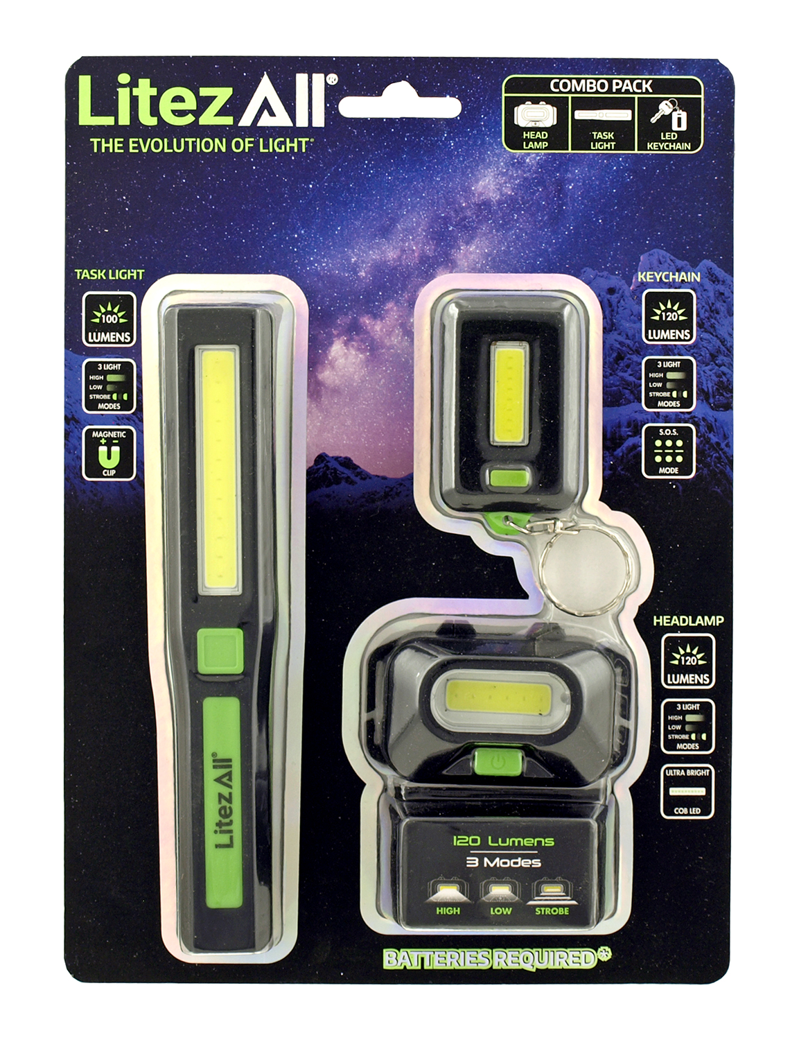 LitezAll Flashlight Multi Pack with Keychain, Task Light, and Head Lamp