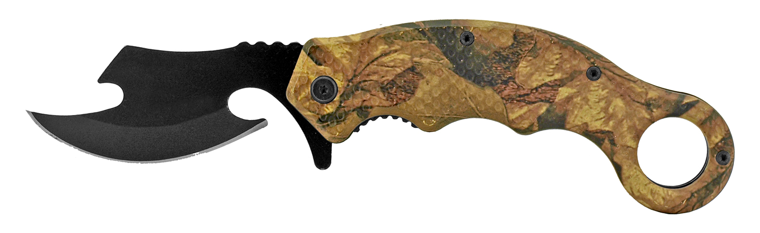5.25 in Karambit Fighters Knife - Forest Camo