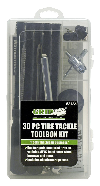 30 - pc. Tire Repair Tackle Toolbox Kit - Grip