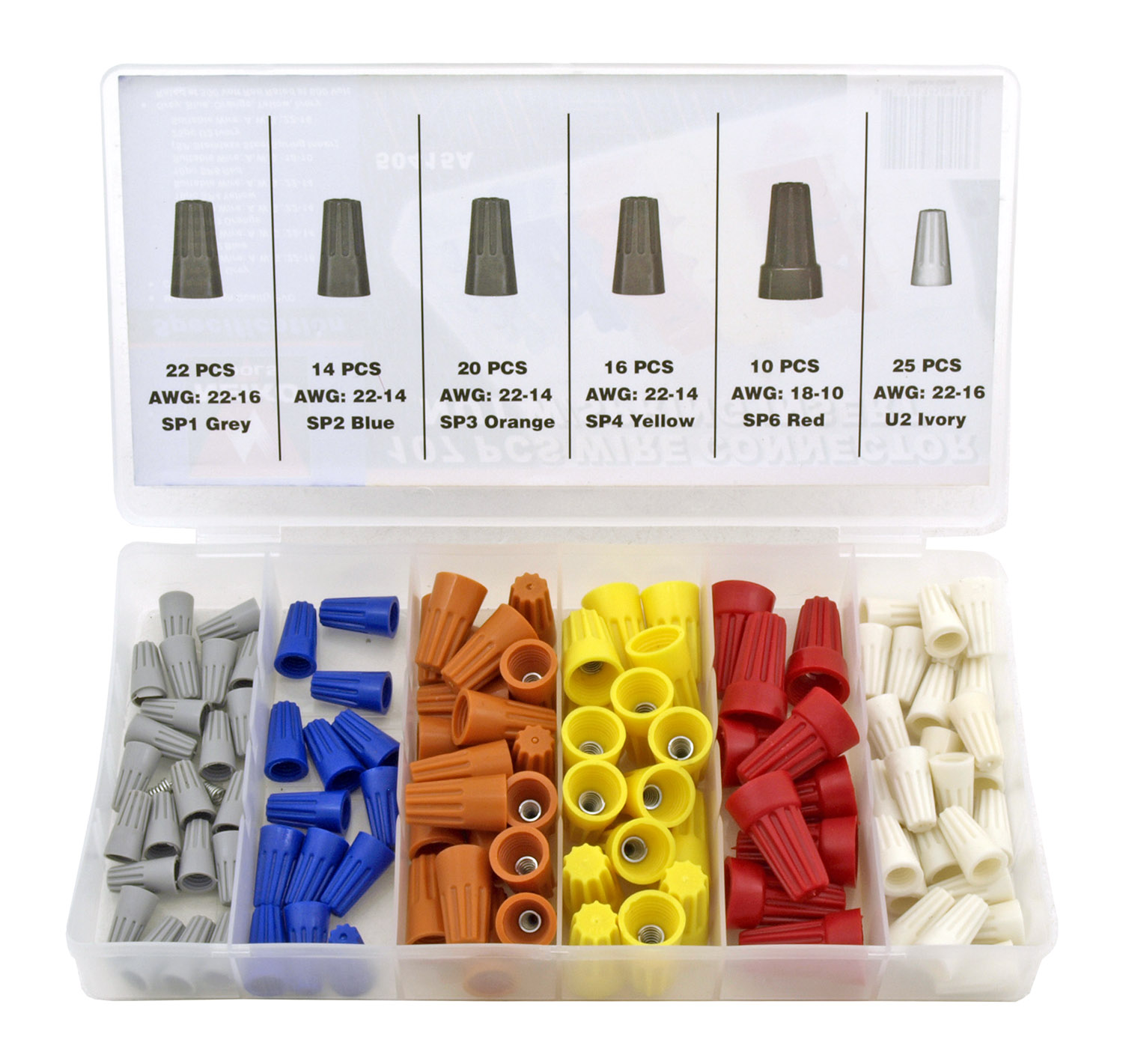 107 pc. Wire Connector Net with Spring Insert Set - Neiko Tools