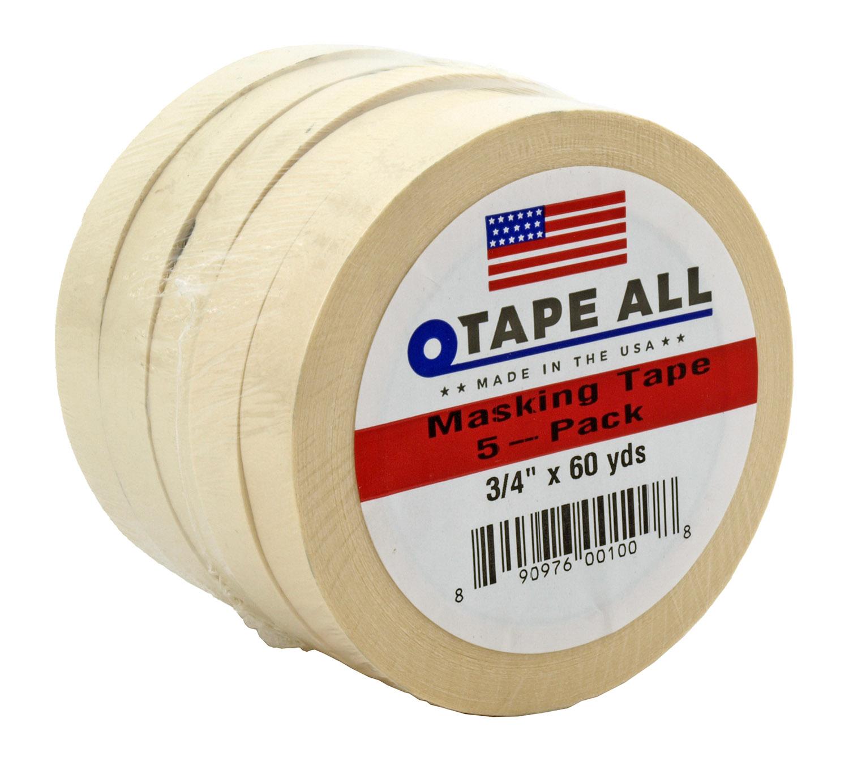 5 pk. Masking Packing Tape .75 3/4 in x 60 yds.