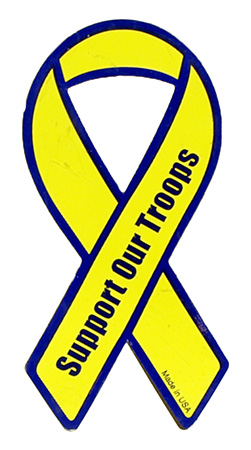 """4"""" Support Our Troops Magnet - Yellow"""