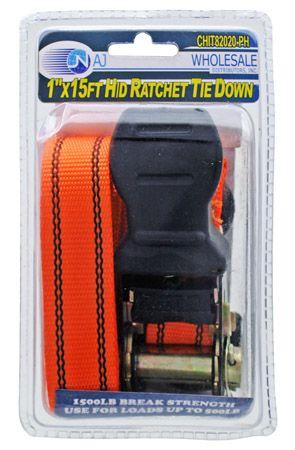 ''1'''' x 15' Heavy Duty Ratchet TIE Down''