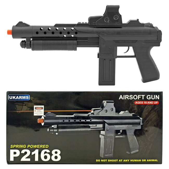 UK Arms P2168 Spring Powered Airsoft Replica Rifle with Red Dot Laser and Mock Scope