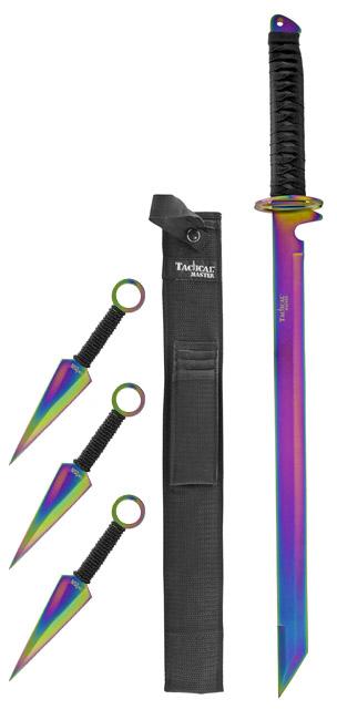 "26"" Samurai Style Ninja Machete with Throwing Knives Kit - Titanium"