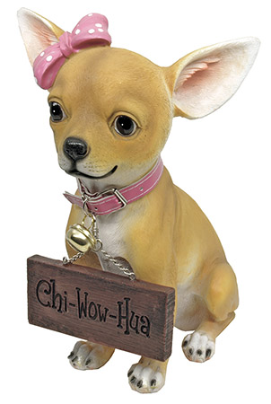Pretty in Pink Chihuahua Greeter Statue