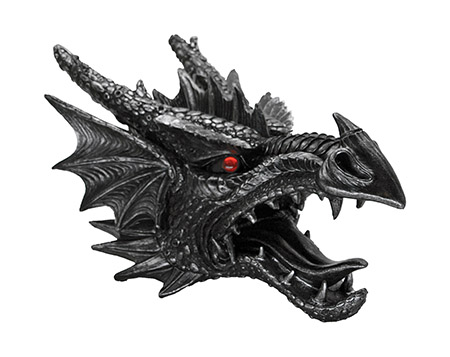 Fierce Saurian Dragon Head FIGURINE Wall Mount
