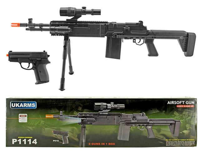 P1114 Spring Powered Airsoft Rifle with Airsoft Handgun