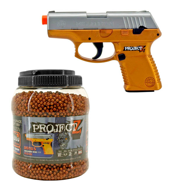 ''14,000 - pc. Project Z .12g 6mm AIRSOFT BB's with Bonus Pistol -...''