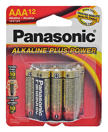 ''12-pc. Panasonic Alkaline ''''AAA'''' BATTERIES''
