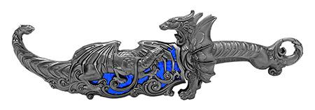 """16.13"""" Heavy Duty Dragon Display Dagger - Blue"""