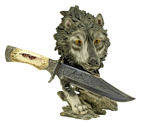 Wolf Bust with Knife Display