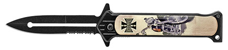 ''4.5'''' Spring Assisted Stiletto Style Flip KNIFE - Chopper Motorcycle''