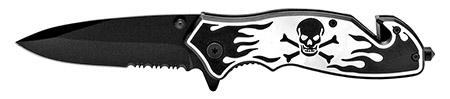 ''4.5'''' Skull and Bones Tactical Folding KNIFE - Black''