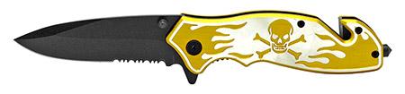 ''4.5'''' Skull and Bones Tactical Folding KNIFE - Gold''