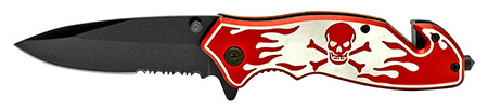 ''4.5'''' Skull and Bones Tactical Folding KNIFE - Red''