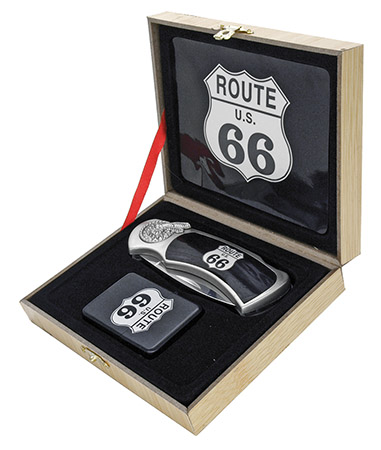 ''4'''' Manual Assist Lockback Folding ROUTE 66 Knife with Lighter''