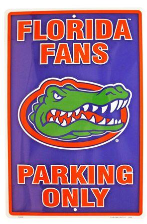 Florida Gator Fans Parking Only Tin Sign