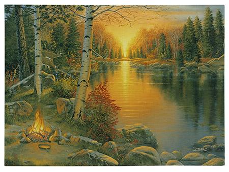 "16"" x 12"" LED Canvas Wall Art - Campfire at Sunset"