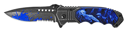 ''4.5'''' Spring Assist Zombie Hunter Folding KNIFE - Blue''