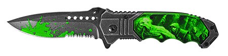 ''4.5'''' Spring Assist Zombie Hunter Folding KNIFE - Green''