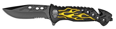 ''4.5'''' Spring Assist Flaming Skull Folding KNIFE - Gold''