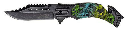 ''4.75'''' Spring Assisted Tactical KNIFE - Snake Camo''