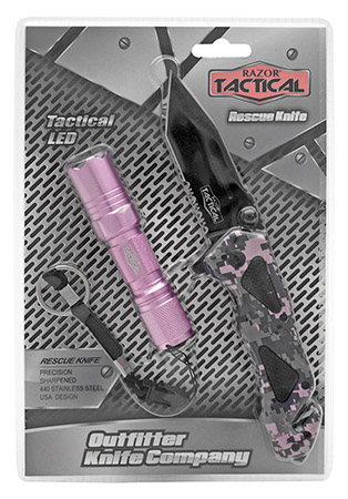 ''4.5'''' Spring Assist Folding KNIFE with Tactical Flashlight - Pink Camo''