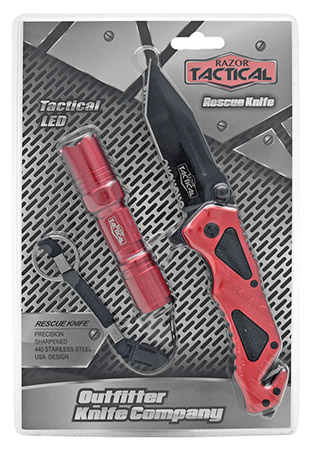 ''4.5'''' Spring Assist Folding KNIFE with Tactical Flashlight - Red''