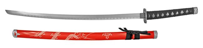 "37"" Traditional Dragon Samurai Sword - Red"