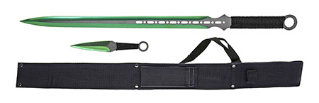 """27"""" Machette w/ Throwing Knives - Black and Green"""
