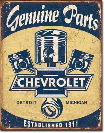 Chevy Piston Parts Tin Sign