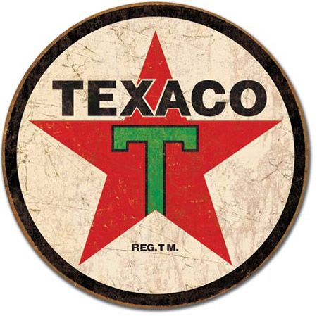 Texaco Tin Sign - Round
