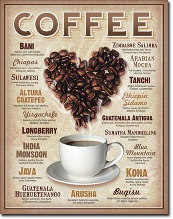 COFFEE Heart Tin Sign