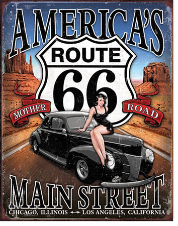 America's Main Street ROUTE 66 Tin Sign