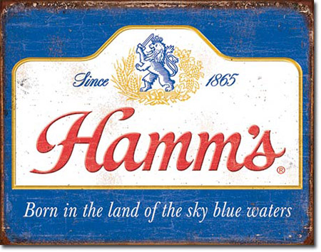 Hamm's Sky Blue Waters Tin Sign
