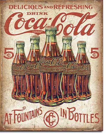 Coke - 5 Bottles Retro Tin Sign